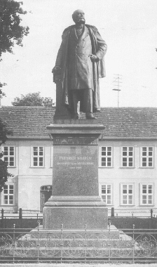 A statue of Grand Duke Friedrich Wilhelm located on the parade ground in Neustrelitz. Built in 1909 and the work of sculptor Martin Wolff it was destroyed in 1944.